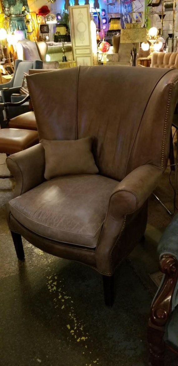 Sensational Vintage Walter E Smithe Distressed Leather Wingback Chairs Pair Gmtry Best Dining Table And Chair Ideas Images Gmtryco
