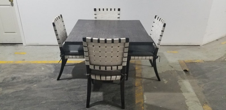 5 Piece Dining Set Mid Century Modern Custom Vicente Wolf for Niedermaier Sculptural Dining Table and Chairs