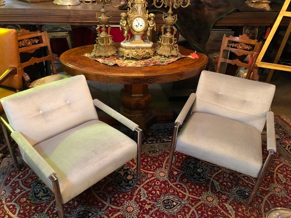 Wondrous Vintage Mid Century Modern Harvey Probber Chrome Frame Mohair Club Chairs Dailytribune Chair Design For Home Dailytribuneorg