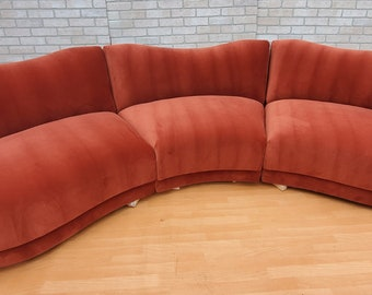 Mid Century Modern Vladimir Kagan for Directional Three Piece Curved Back Sectional Sofa Newly Upholstered