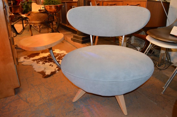 Astonishing Vintage Retro Table Side Swivel Chair By Galerkin Designs Newly Upholstered Baby Blue Textures Suede Andrewgaddart Wooden Chair Designs For Living Room Andrewgaddartcom