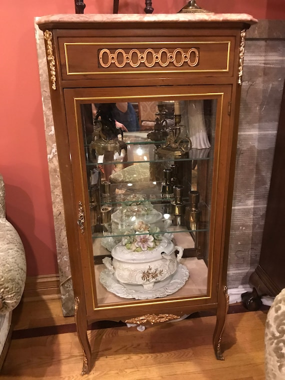 image 0 - Antique Glass Display Cabinet With A Marble Top Etsy