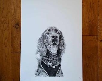 Custom Pet Portrait, Dog Portrait - A3