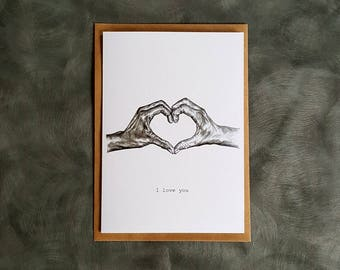 I love you greeting card. Anniversary, valentines, wedding card.