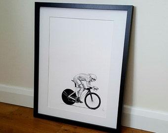 Cycling print, cycling art, bicycle print, cycling gift - A4 and A3 print