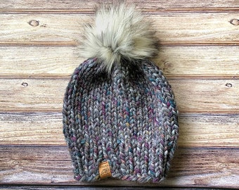 48870b5a784d1 Knit Kids Beanie    CUSTOM ORDER    Kids Hats    Wool Hat    Pom Pom    Made  to Order    Mommy and Me    Knit Hat