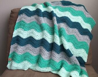 Mint and Teal Crochet Baby Blanket // Stroller Size // Ripple Blanket // Baby Blanket // Afghan