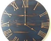 30 Black or Blue Copper Rustic Farmhouse Kitchen Clock, Large Wooden Wall Clock Home Decor