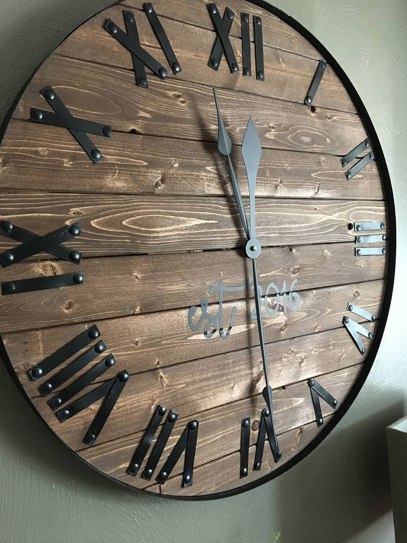 24 Large Farmhouse Wooden Wall Clock Modern Farmhouse image 0