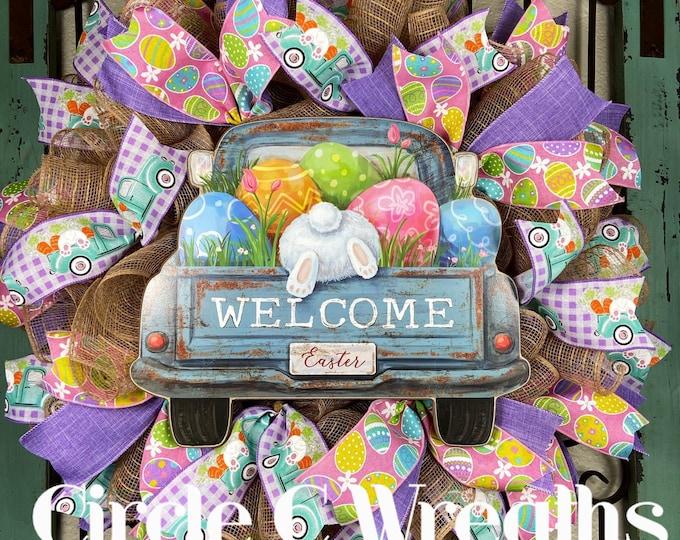 LAST 1-Easter Wreath, Easter Front Door Wreath, Happy Easter Truck