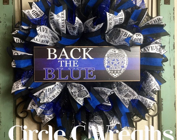 Back The Blue Wreath (Free Shipping)