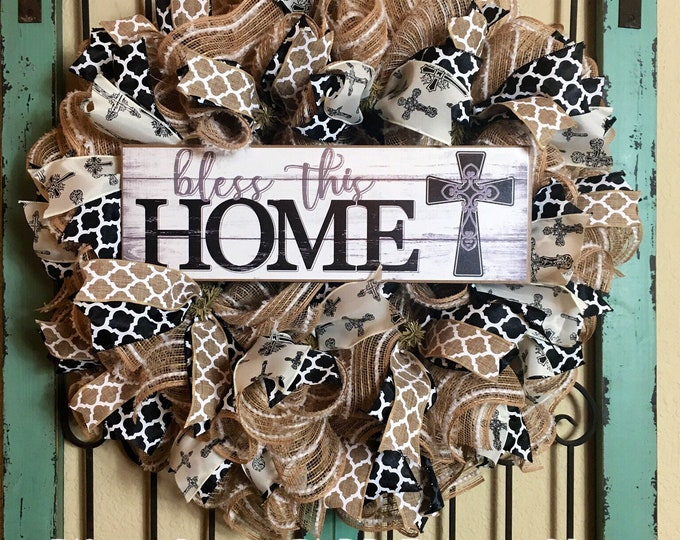 Welcome Cross Front Door Wreath