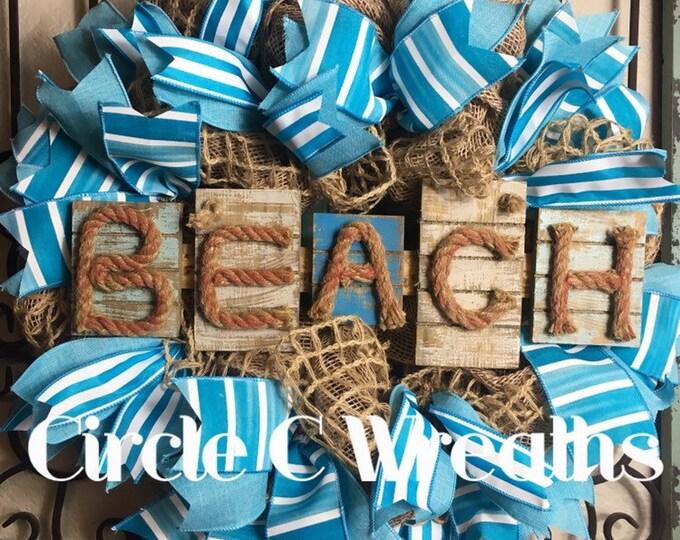 Beach Wreath, Summer Wreath, Summer Beach Wreath, Front Door Wreath