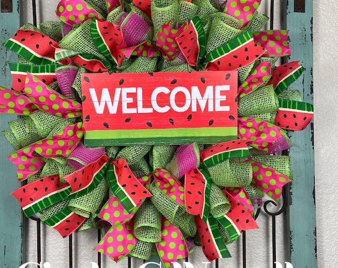 LAST 1-Watermelon Wreath, Summer Wreath, Welcome Wreath