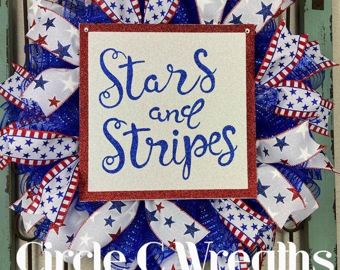 Patriotic Wreath, 4th of July Wreath, USA Wreath