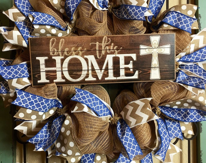 Bless This Home Front Door Wreath, Welcome Front Door Wreath, Cross Wreath, Cross Front Door, Deco Mesh Wreath