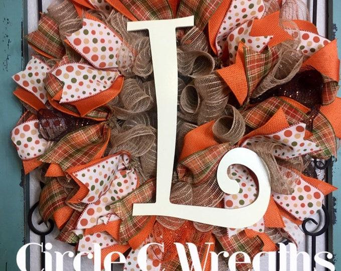 Fall Wreath, Initial Wreath, Custom Fall Wreath, Year Round Wreath, Fall Decorations