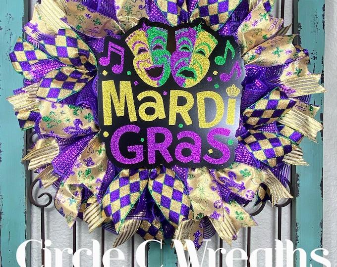 Mardi Gras Wreath, Mardi Gras Decor, Mardi Gras Front Door, Fat Tuesday