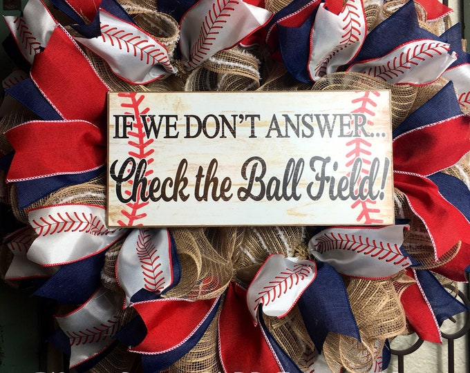 Check the Field Baseball Wreath