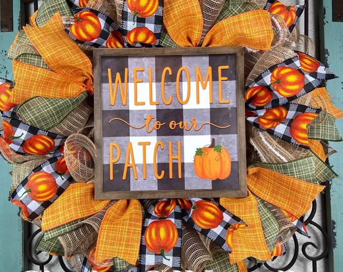 Fall Pumpkin Wreath (FREE SHIPPING)