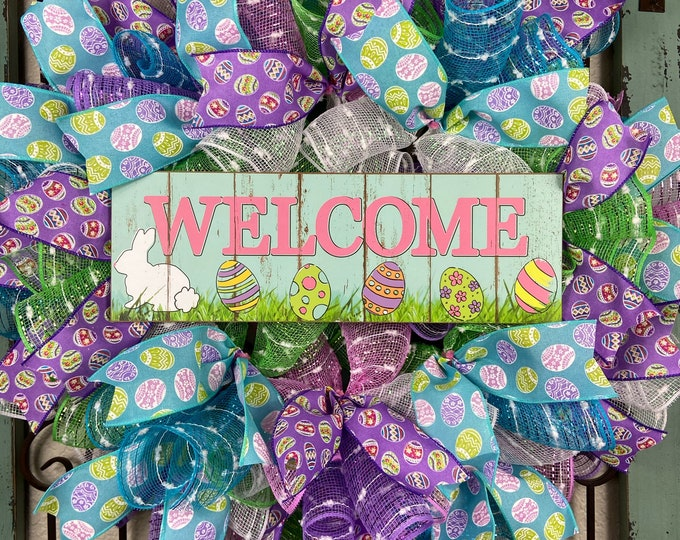 Welcome Easter Wreath (FREE SHIPPING)