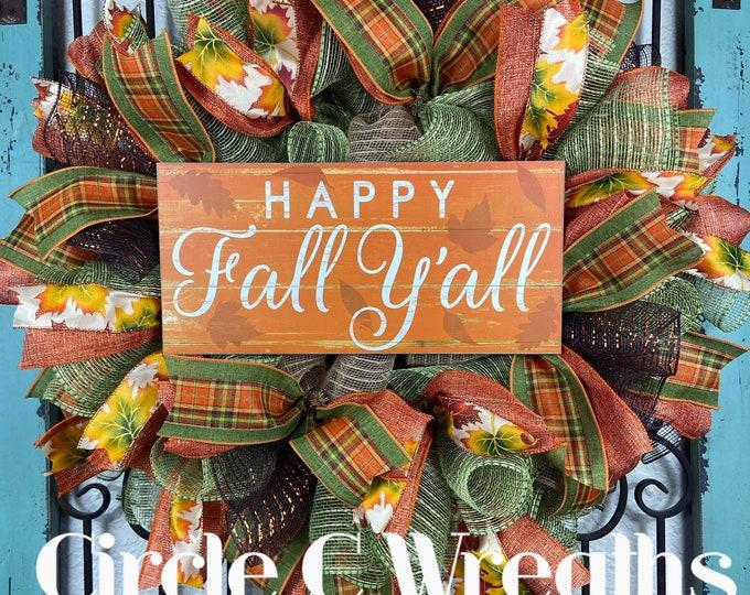 Happy Fall Yall Wreath (FREE SHIPPING)
