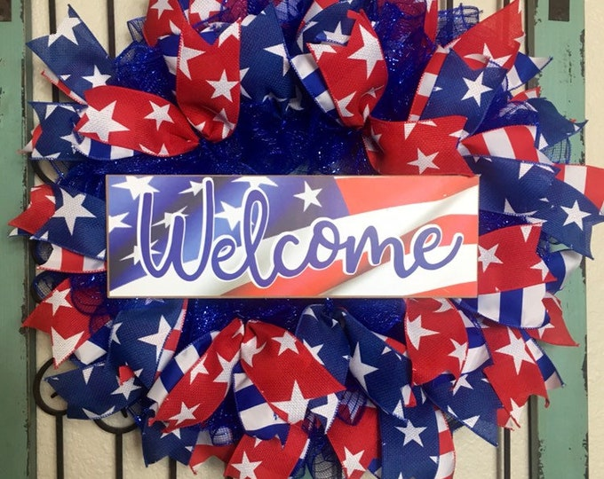 4th of July Wreath, Welcome Patriotic Wreath, USA, Year Round Wreath, July