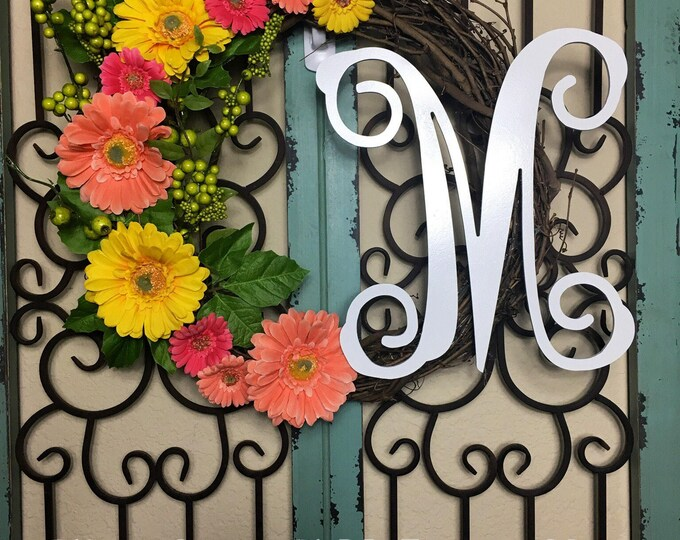 Grapevine Initial Floral Wreath, Choose Initial