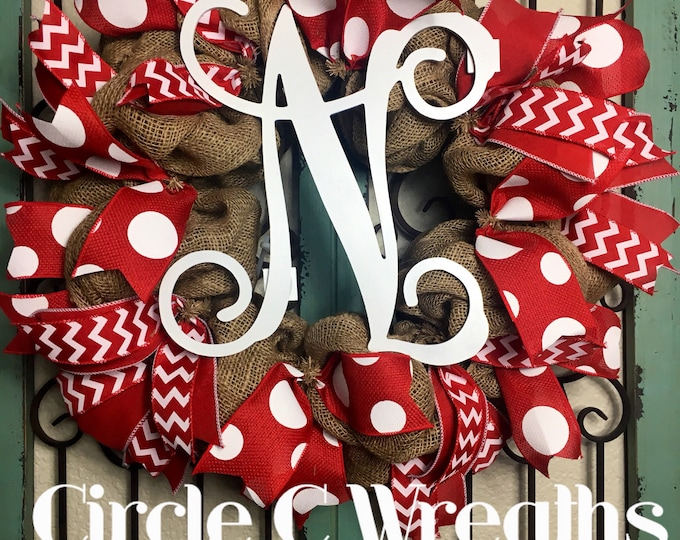 TOTALLY CUSTOM Burlap Initial Wreath (Deco Mesh also available)