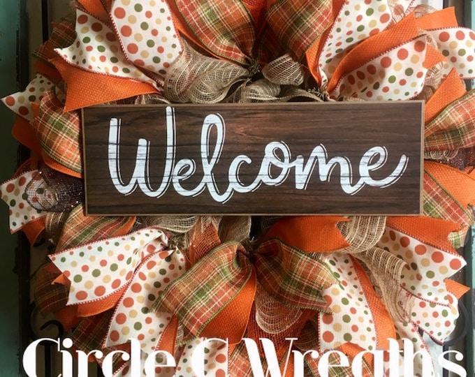 Fall Front Door Wreath, Welcome Wreath