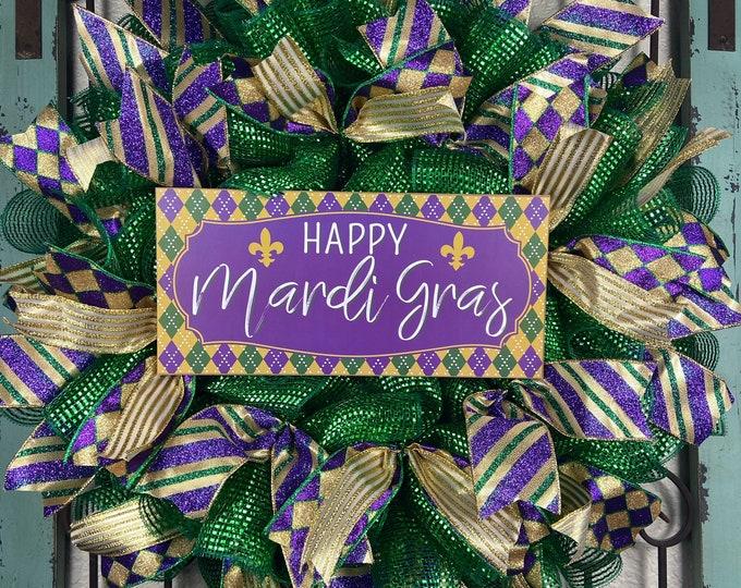 LAST 1-Mardi Gras Wreath, Mardi Gras, Fleur de Lis Wreath, New Orleans