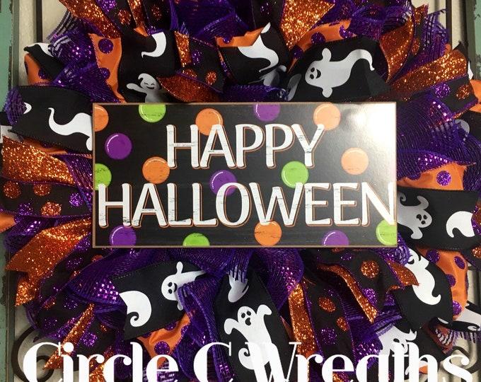 Halloween Wreath, Halloween Front Door Wreath, Happy Halloween Mesh Wreath