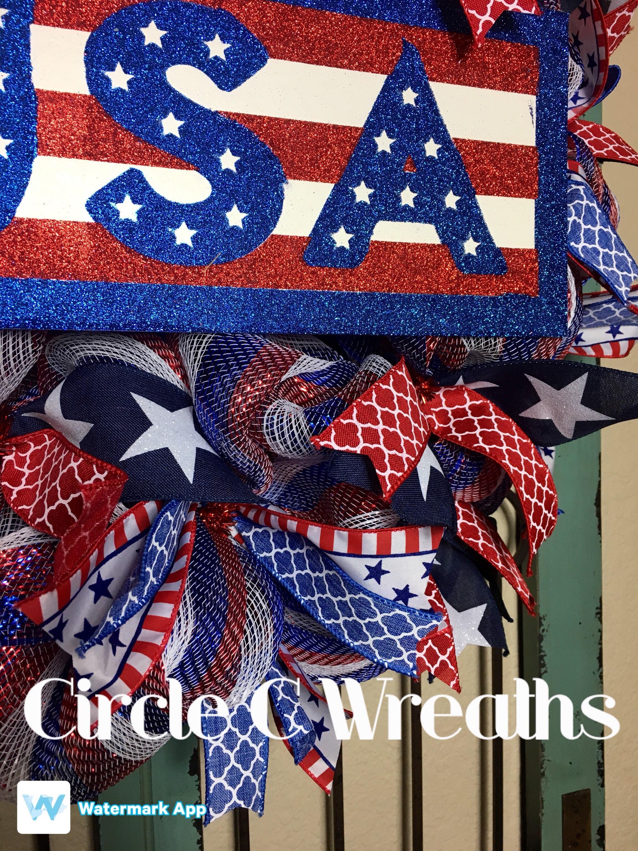 Sale 4th Of July Front Door Wreath Usa Front Door Wreath Patriotic