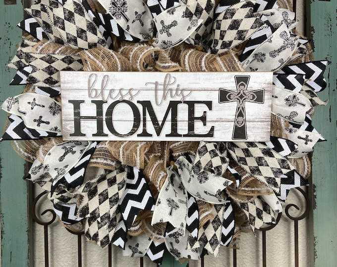 Year Round Wreath, Bless this Home Wreath, Black and Khaki Wreath, Welcome