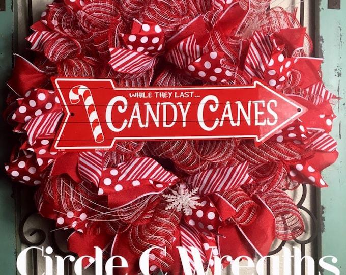 LAST 1-Christmas Front Door Wreath, Holiday Wreath, Christmas Wreath, Candy Cane Wreath