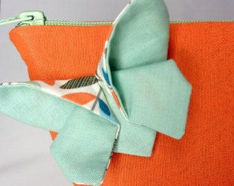 Orange Butterfly toilet bag Green origami