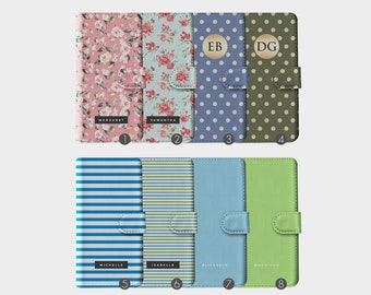 a336f0ca2746 Personalised Initials Custom Wallet Leather Phone Case Shabby Chic Flowers  Dots Stripes Name for iPhone 5 5s SE 6 6s 7 8 Plus X Xr Xs Max