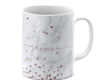 f263968497b Personalised Mug Cup with your name or initials Gift Marble Floating Rose  Gold Glitter Hearts Handwritten Name Bridesmaid Maid of Honor