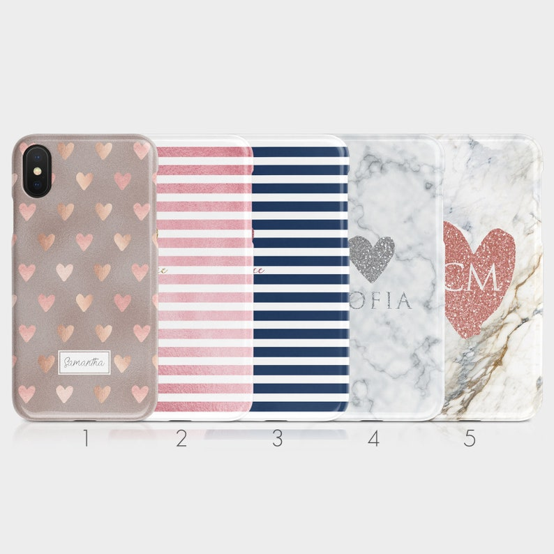 Personalised Initials Custom Hard Phone Case Rose Gold Hearts image 0