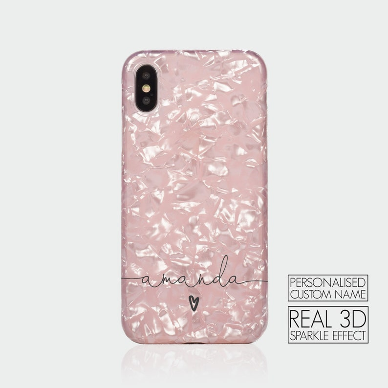 NO REAL GLITTER Pink Collection Vanilla Rose Gold Ombre Tirita Personalised Initials Custom Clear Soft Gel Phone Case Compatible with iPhone 6 /& 6s PRINTED GLITTER