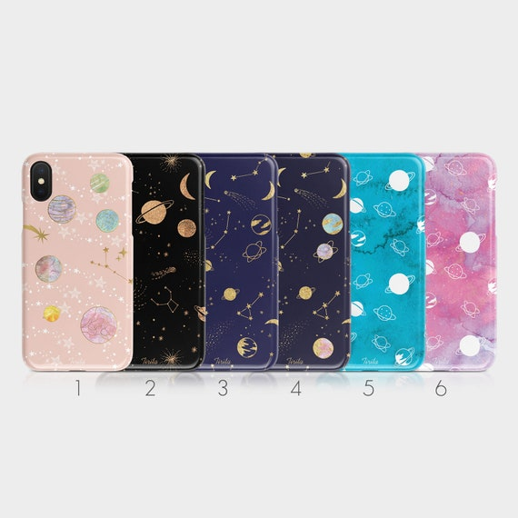 Tirita Hard Phone Case Celestial Moon Stars Space Universe Printed Glitter For I Phone 5 5s Se 6 6s 7&8 + X Xs Samsung Motorola Lg Huawei Htc by Etsy