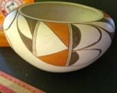 Huge Nice Vintage Bowl Pottery Hopi Pueblo 7 inch Polychrome Clay UnSigned