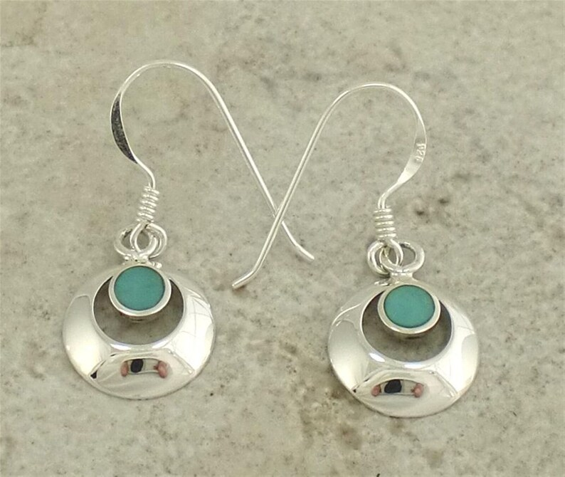 Solid Turquoise Sleeping Beauty Mine in Sterling Silver Earrings-Vintage New Dangle with French Wire