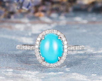 Turquoise Engagement Ring White Gold Ring Diamond Halo Antique Claw Prongs Stacking Anniversary Retro Birthstone Ring Personalized