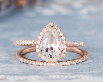 Rose Gold Engagement Ring Pear Shaped White Topaz Bridal Set Birthstone Ring Anniversary Promise Diamond Stacking Wedding Band Women 2pcs
