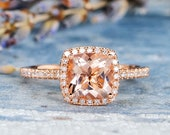 Morganite Engagement Ring Rose Gold Cushion Cut Bridal Wedding Women Peachy Diamond Halo Anniversary Gifts For Her Graduation Birthday Ring