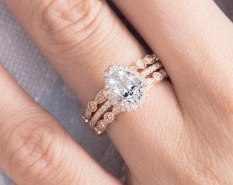 Pear Shaped Engagement Ring Wedding Band Women Set Rose Gold | Etsy
