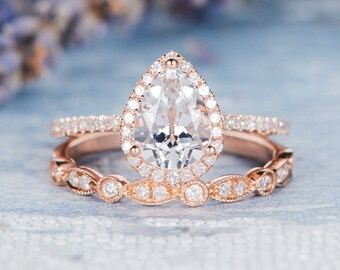 Pear Shaped Engagement Ring Wedding Band Women Set Rose Gold White Topaz Halo Diamond Stacking Eternity Art Deco Bridal Set Birthstone
