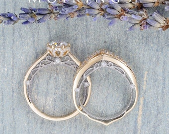 Vintage Moissanite Ring Set Half Eternity Diamond Band Peekaboo Stacking Band High Cathedral Profile Milgrain Ring Rose Gold Ring Set 2pcs
