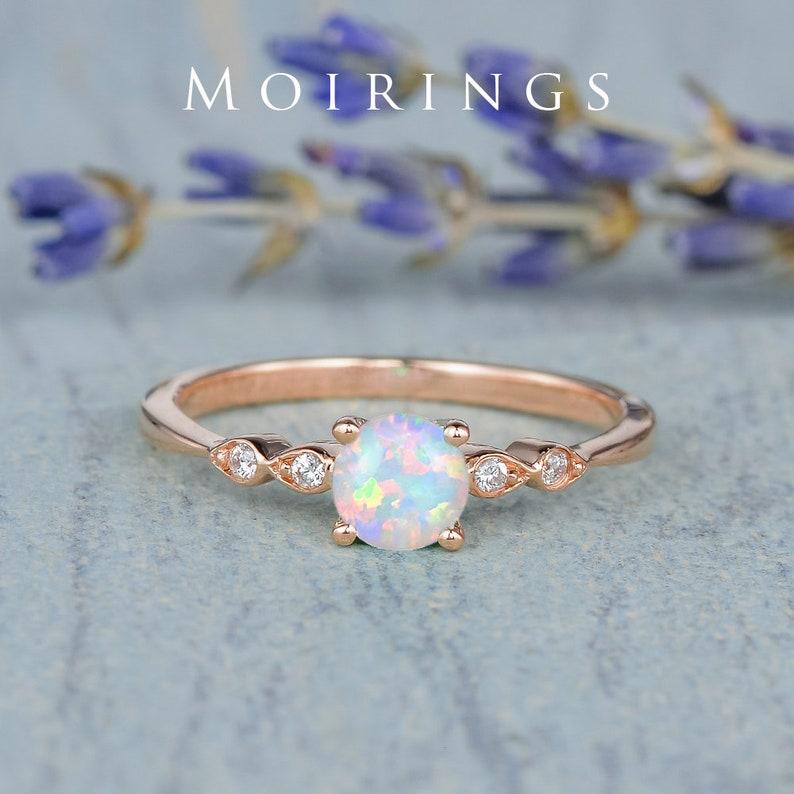 Mini Natural Opal Engagement Ring Rose Gold Engagement Ring image 0